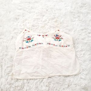 Abercrombie Embrodiered Tie Back Top White